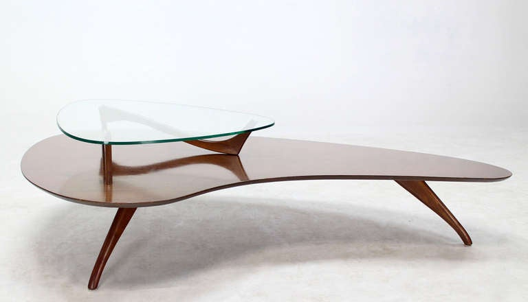 Mid-Century Modern, Kidney Organic Shape, Walnut Coffee Table with Glass Top 8