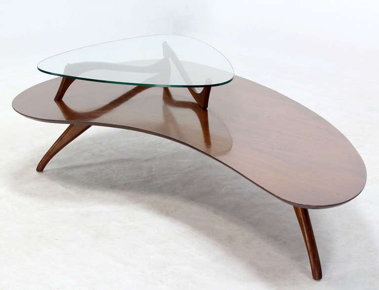 Mid-Century Modern, Kidney Organic Shape, Walnut Coffee Table with Glass Top 9