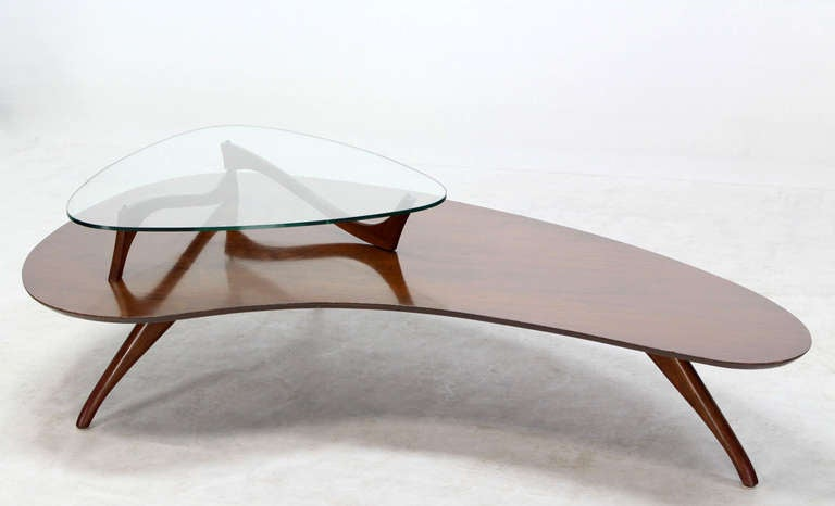 Mid-Century Modern, Kidney Organic Shape, Walnut Coffee Table with Glass Top 2