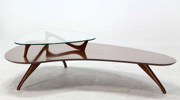 Mid-Century Modern, Kidney Organic Shape, Walnut Coffee Table with Glass Top 10