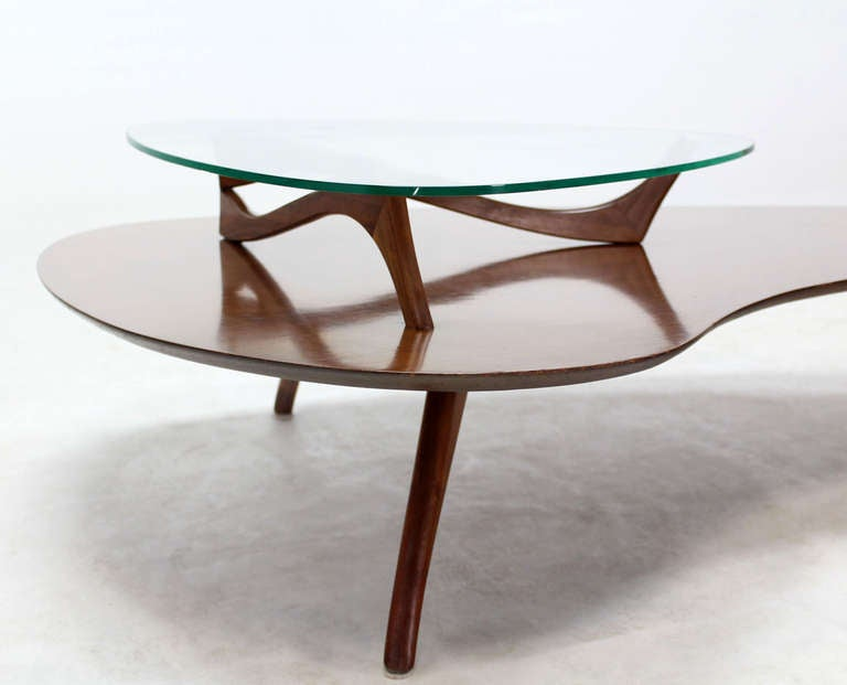 Mid-Century Modern, Kidney Organic Shape, Walnut Coffee Table with Glass Top 7