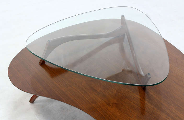 Mid-Century Modern, Kidney Organic Shape, Walnut Coffee Table with Glass Top 4