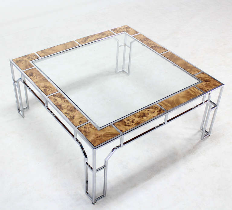Modern Square Coffee Table With Glass Top: Mid-Century Modern, Chrome And Glass Square Coffee Table
