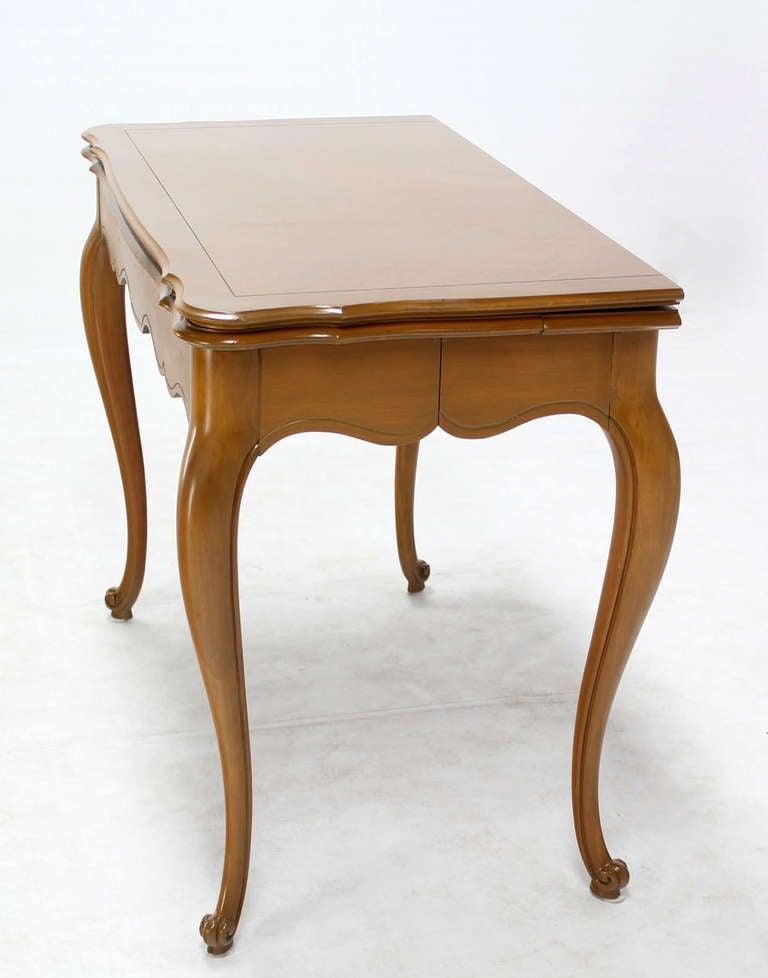 French Provincial Flip Top Console Or Dining Table With Three Leaves