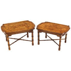 Pair Faux Bamboo Burl Wood Top End Side Tables Stands by Heritage