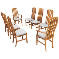 Set of Eight Danish Modern Tall Back Teak Chairs New Upholstery