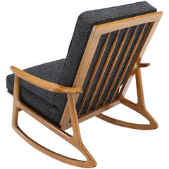 Danish Modern Rocking Lounge Chair New Upholstery