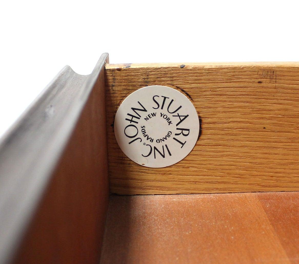 American Johnson John Stuart Credenza or Dresser Two Doors Drawers Brass Leg Tips For Sale