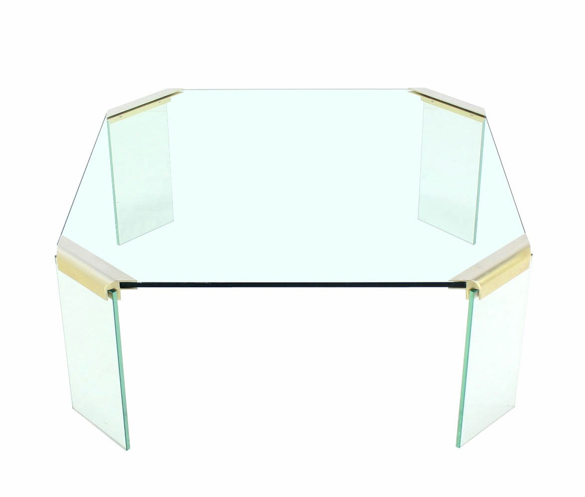 Large lucite chrome and brass coffee table at 1stdibs - Large Square Glass Top Legs Brass Bracket Base Coffee