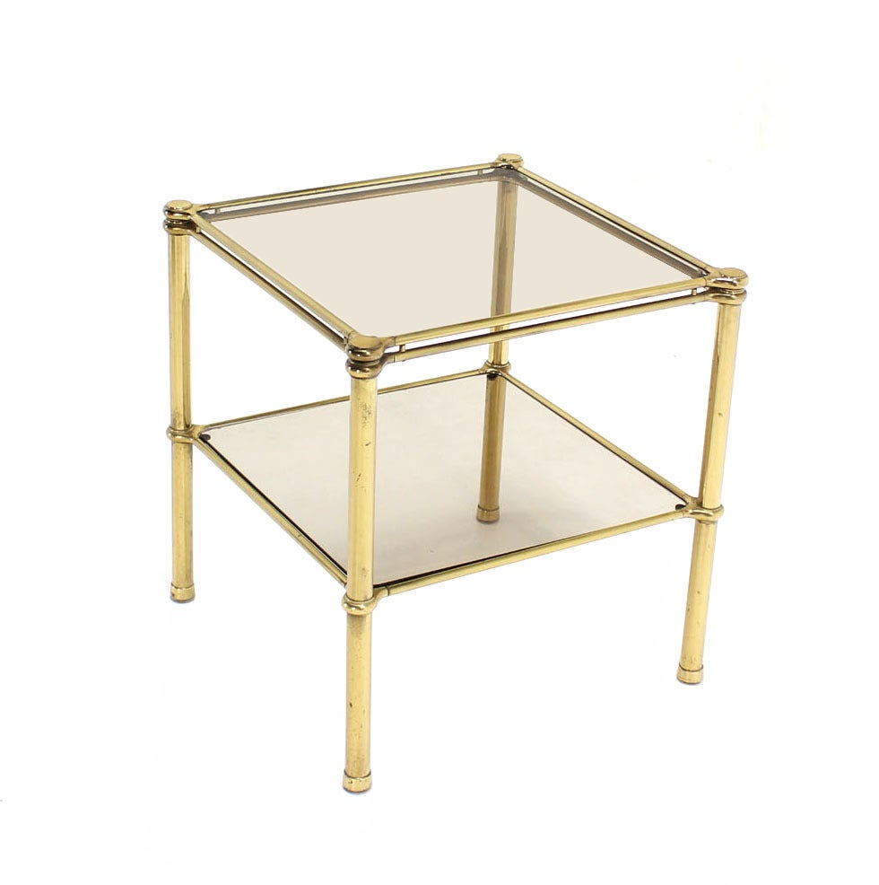 Unusual Brass Square Two-Tier Side or End Table In Excellent Condition For Sale In Blairstown, NJ