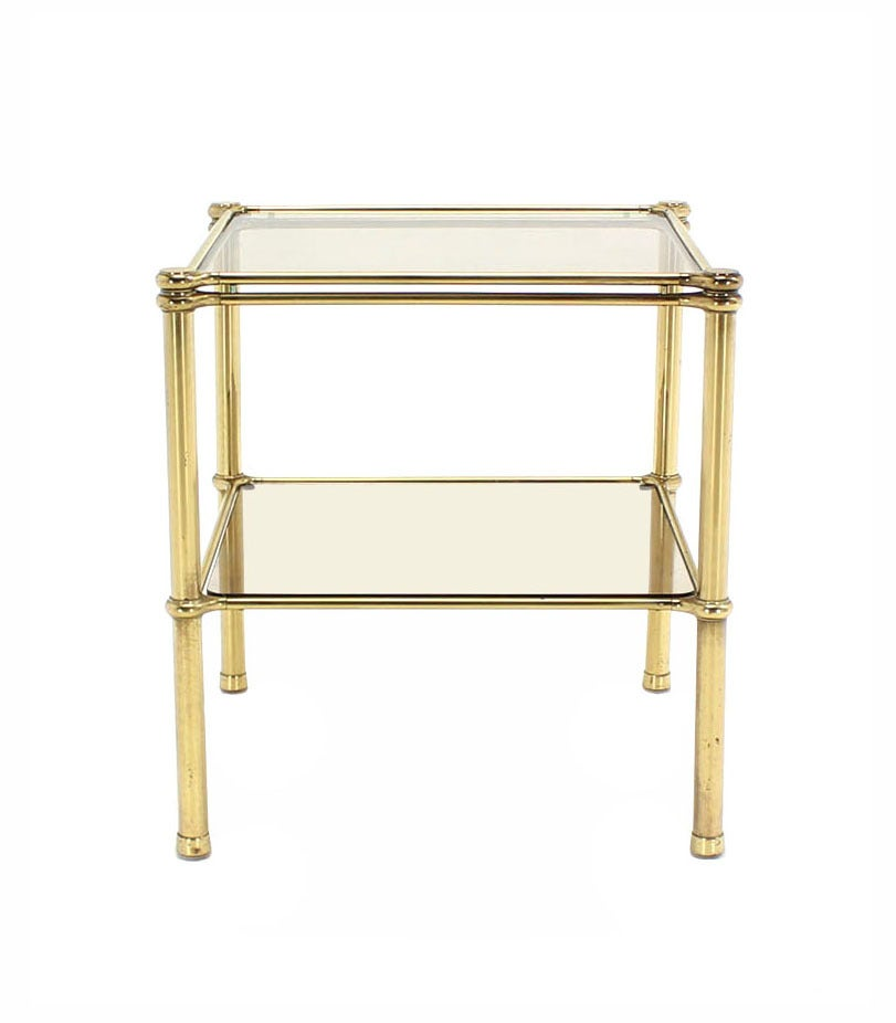 American Unusual Brass Square Two-Tier Side or End Table For Sale