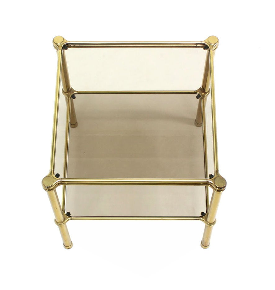 Polished Unusual Brass Square Two-Tier Side or End Table For Sale