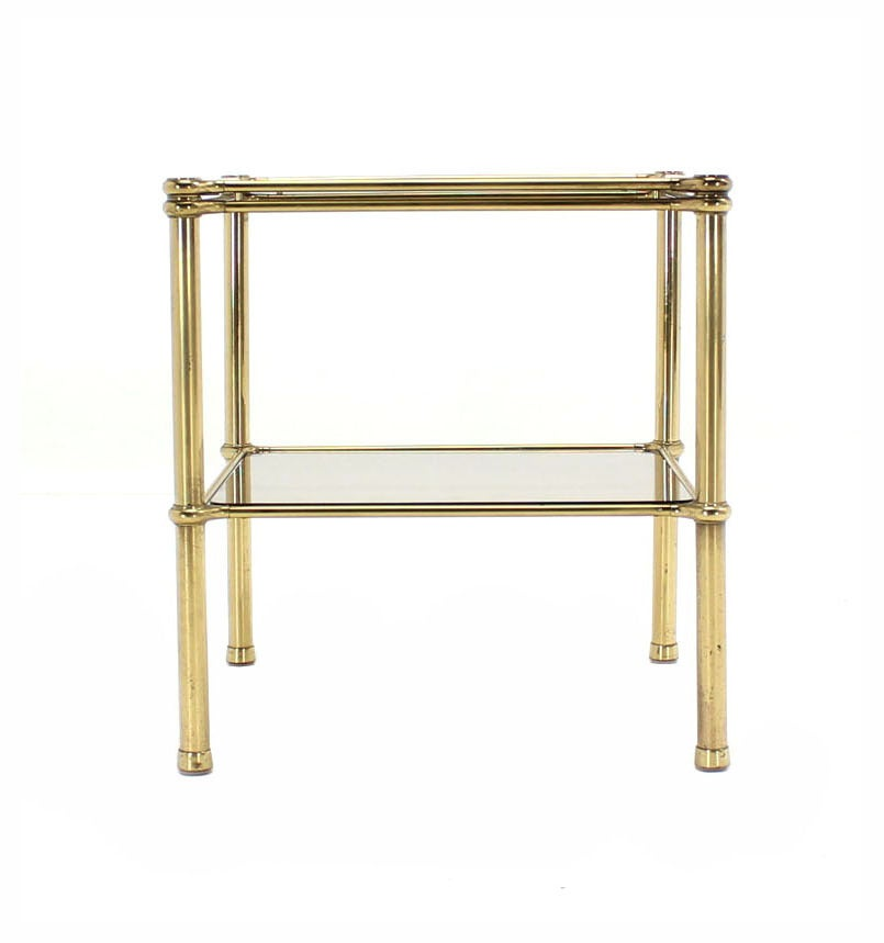 Mid-Century Modern Unusual Brass Square Two-Tier Side or End Table For Sale