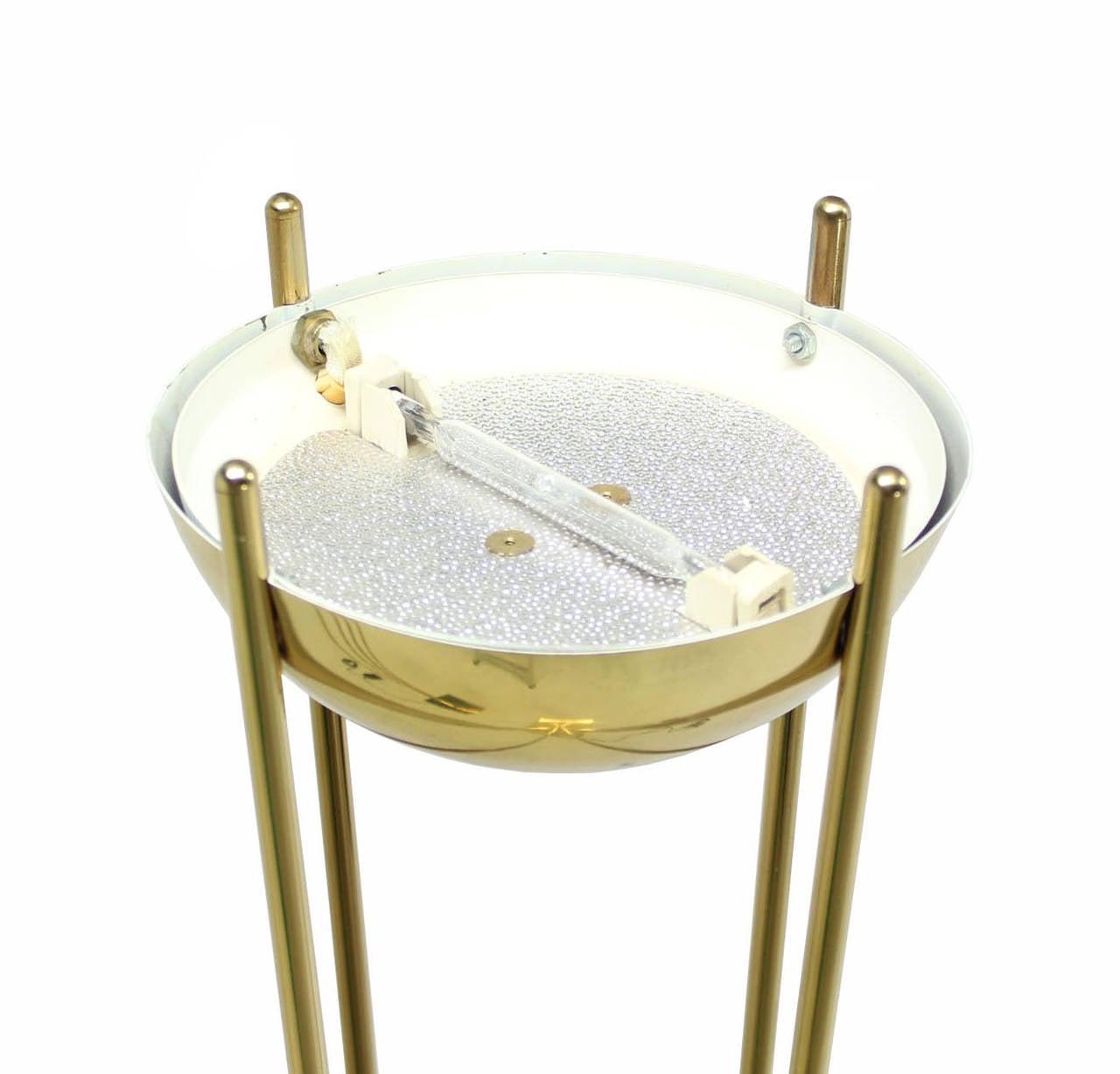 Vtg Brass Floor Lamp: Pair Of Brass Mid-Century Modern Halogen Floor Lamps For