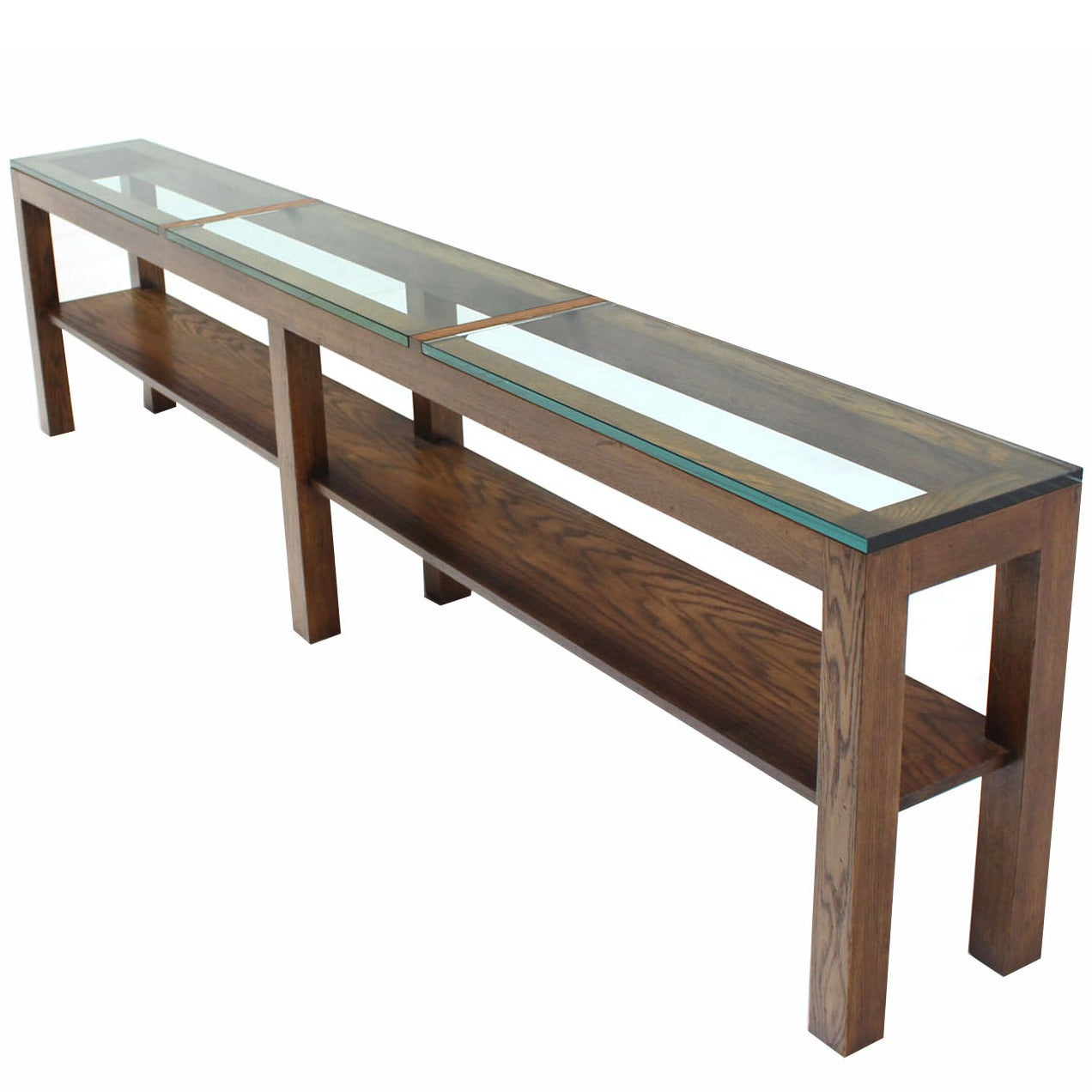 Heavy Thick Glass Top Rectangle Console Table On Six