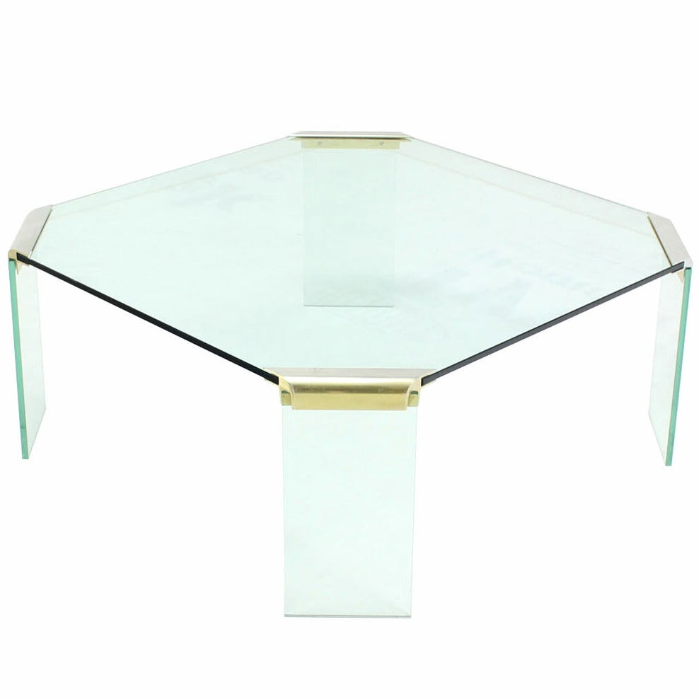 Large square glass top legs brass bracket base coffee table for sale at 1stdibs Large glass coffee table