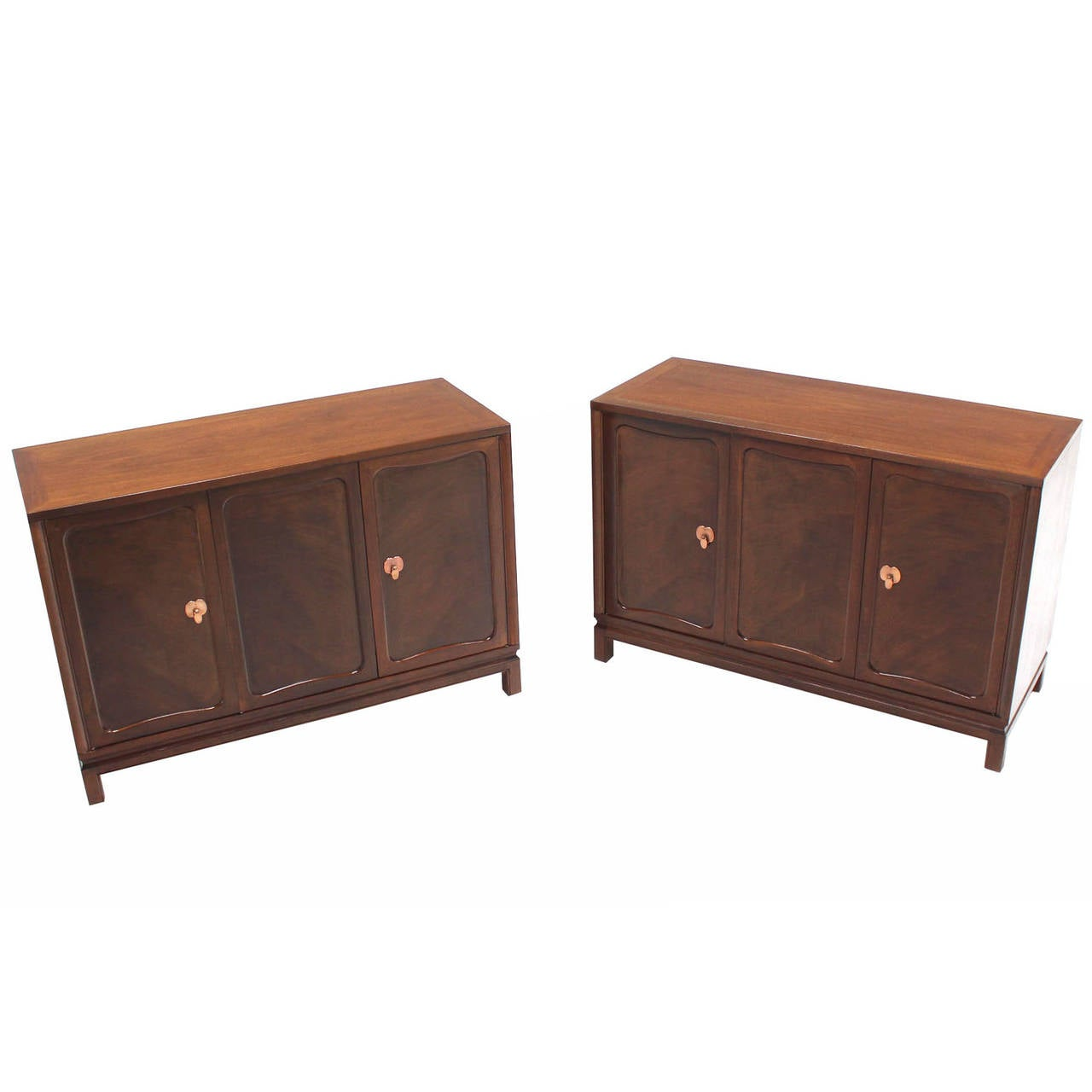 Pair of Walnut Three-Door Credenzas Bachelor Chests Drawers Copper Pulls