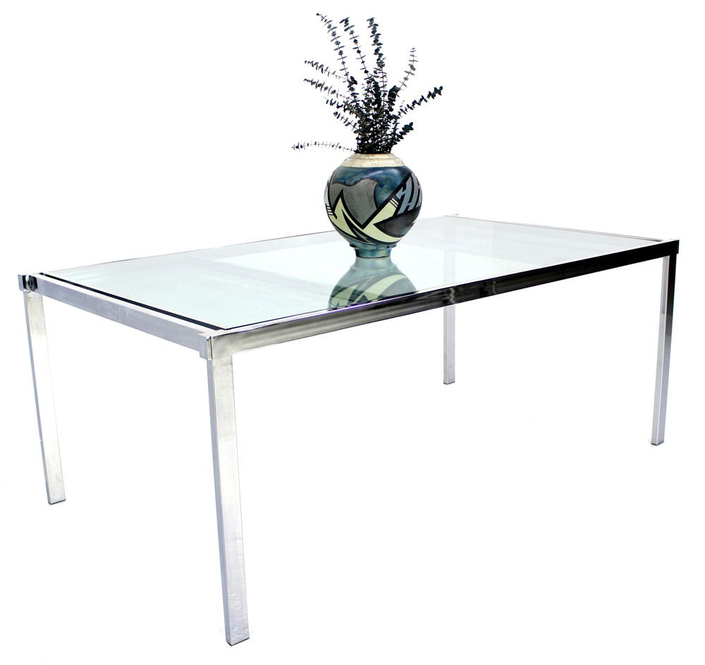 Chrome And Glass Dining Conference Table With Extensions Image 6