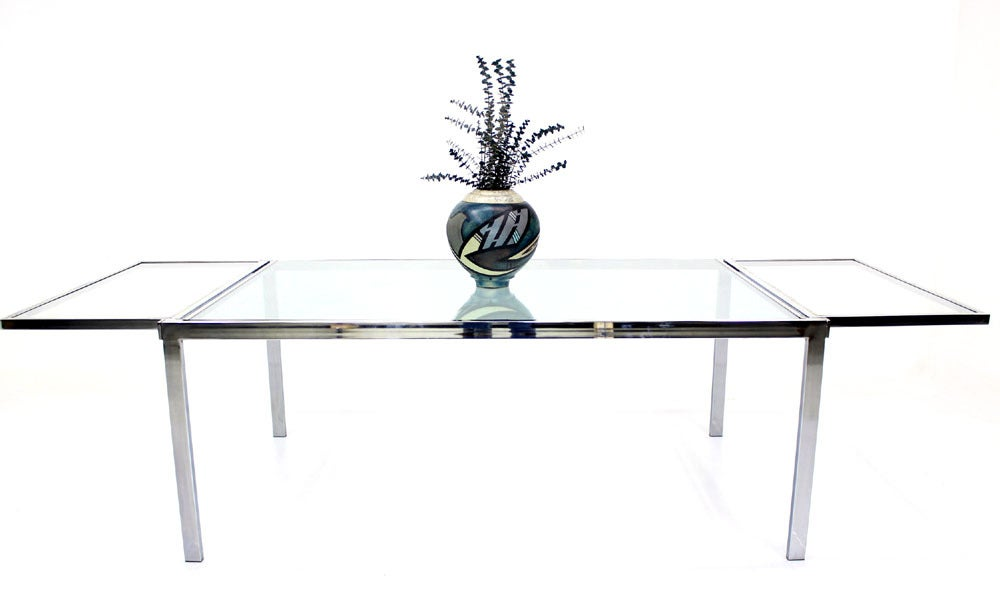 Chrome Glass Dining Conference Table With Drop Leaf