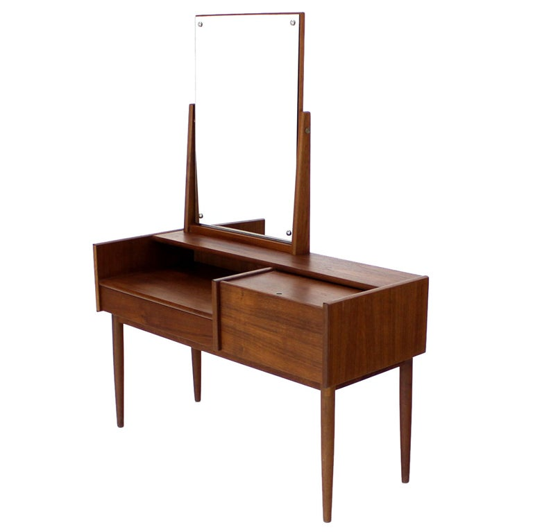 Danish Mid Century Modern Teak Dressing Table Vanity 1 - Danish Mid Century Modern Teak Dressing Table Vanity At 1stdibs