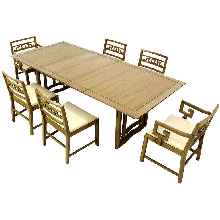 mid century oriental modern dining table set with six