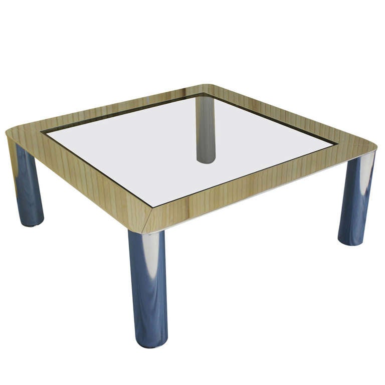 Chrome And Smoked Glass Mid Century Modern Coffee Table At