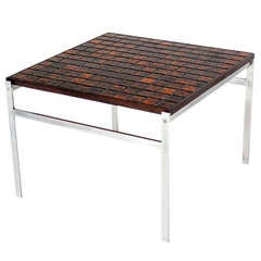 Mid-Century Danish Modern Chrome Base Tile and Rosewood-Top Square Coffee Table