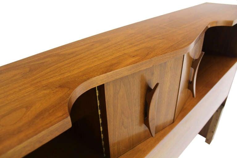 Mid-Century Danish Modern Walnut Full-Size Sculptural Headboard image 2