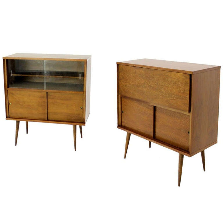Pair of Mid-Century Modern Cabinet Bookcases at 1stdibs