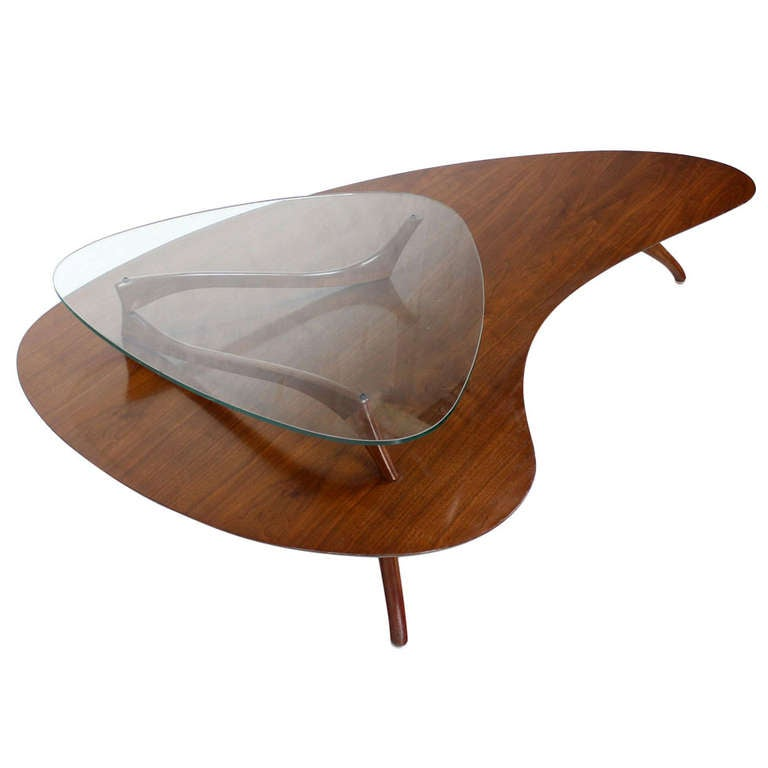 Mid-Century Modern, Kidney Organic Shape, Walnut Coffee Table with Glass Top 1