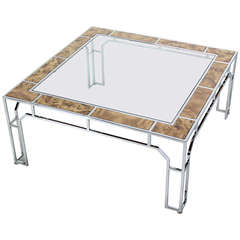 Mid-Century Modern, Chrome and Glass Square Coffee Table