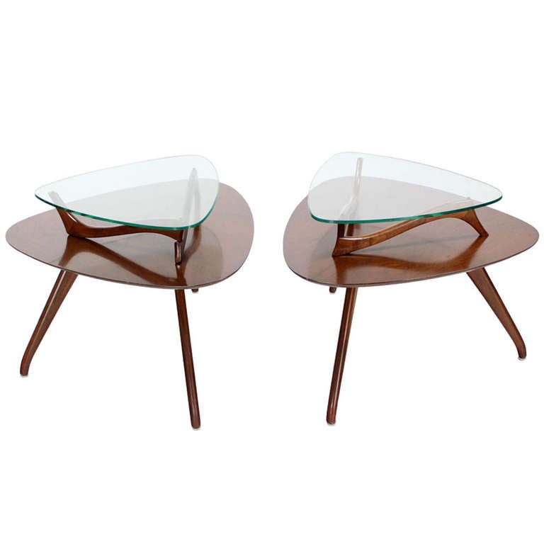 Pair of Organic Shape End Tables with Glass Tops