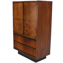Mid-Century Modern Walnut Gentlemen's High Chest Chifferobe Armoire
