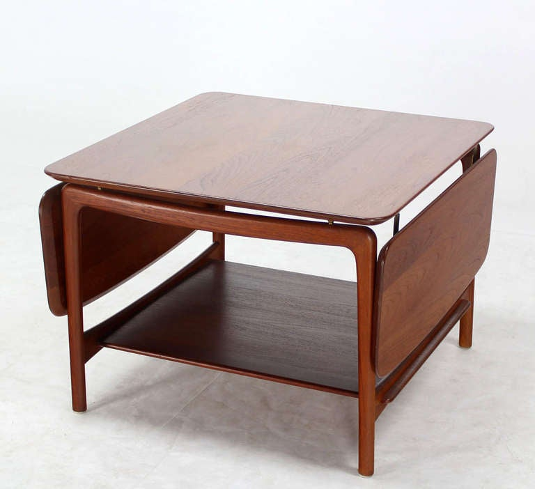 Solid Teak, Drop-Leaf Coffee Table 3 - Solid Teak, Drop-Leaf Coffee Table For Sale At 1stdibs