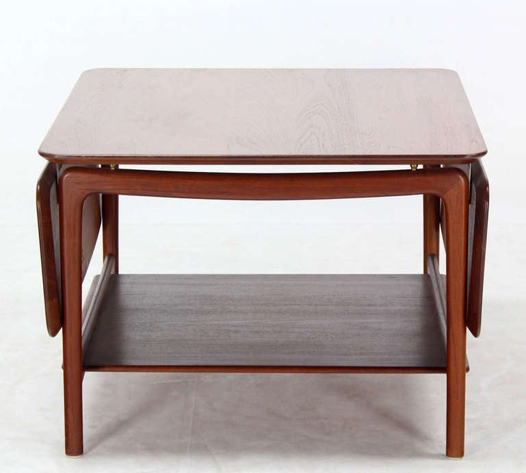 Solid Teak Drop Leaf Coffee Table At 1stdibs