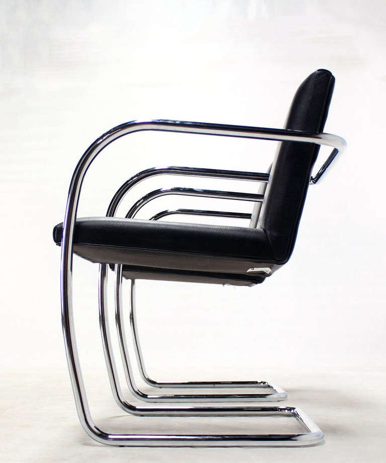 Pair of mid century modern leather and chrome brno chairs for Mid century modern leather chairs