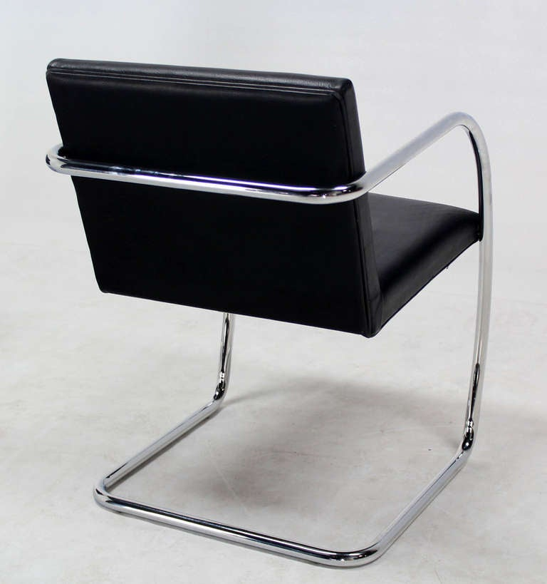 Pair Of Mid Century Modern Leather And Chrome Brno Chairs Bauhaus At 1stdibs