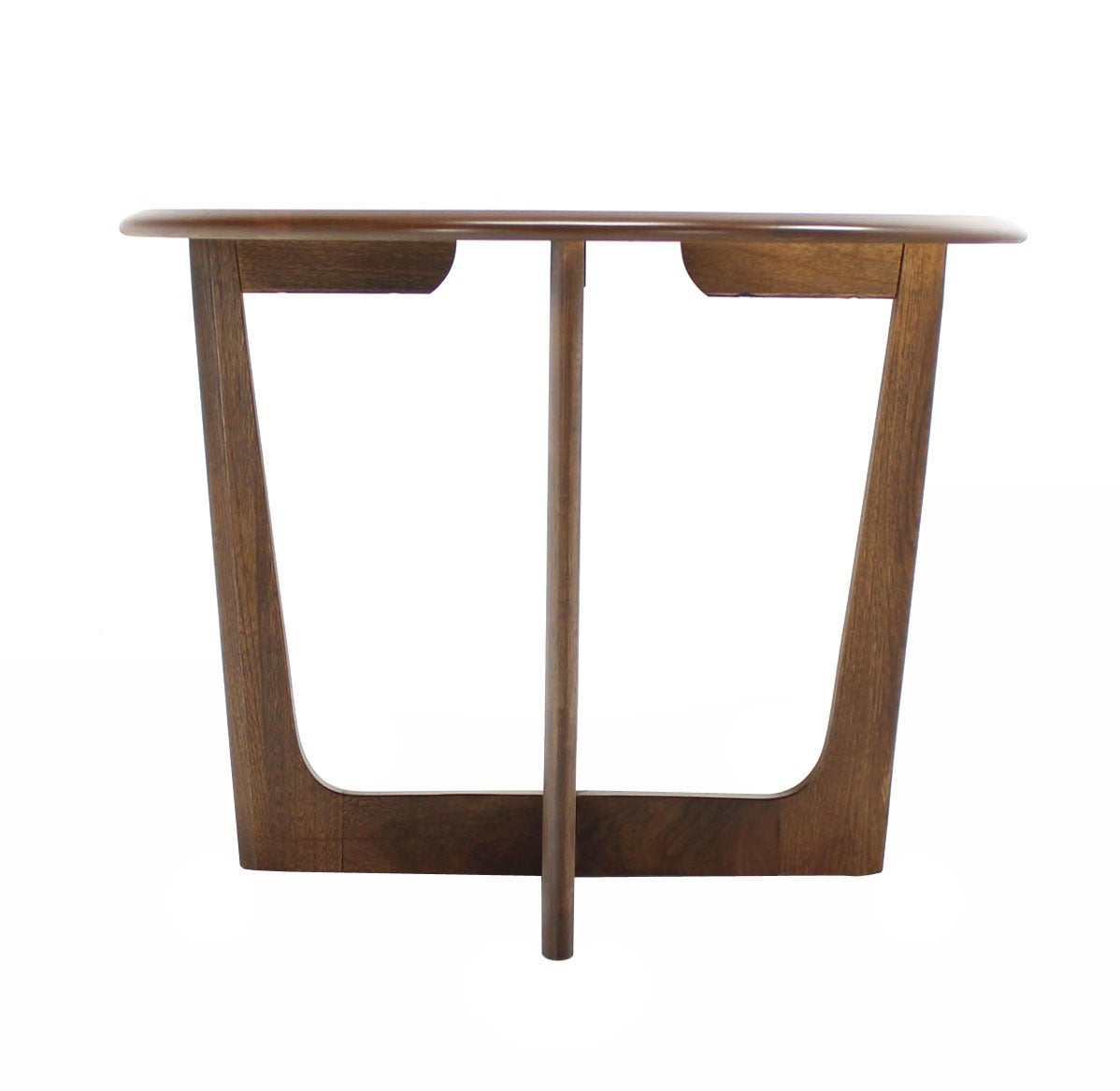 X base walnut round side table at 1stdibs for Side table base