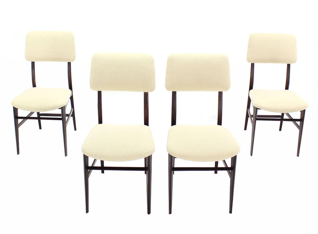 set of four italian modern walnut dining chairs new
