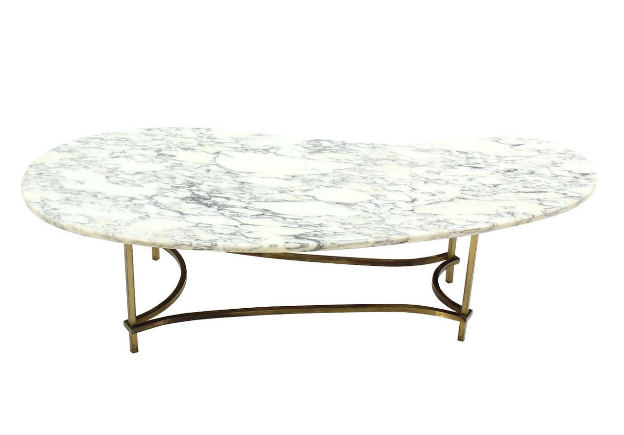 Organic Kidney Shape Marble Top Brass Base Coffee Table For Sale At 1stdibs