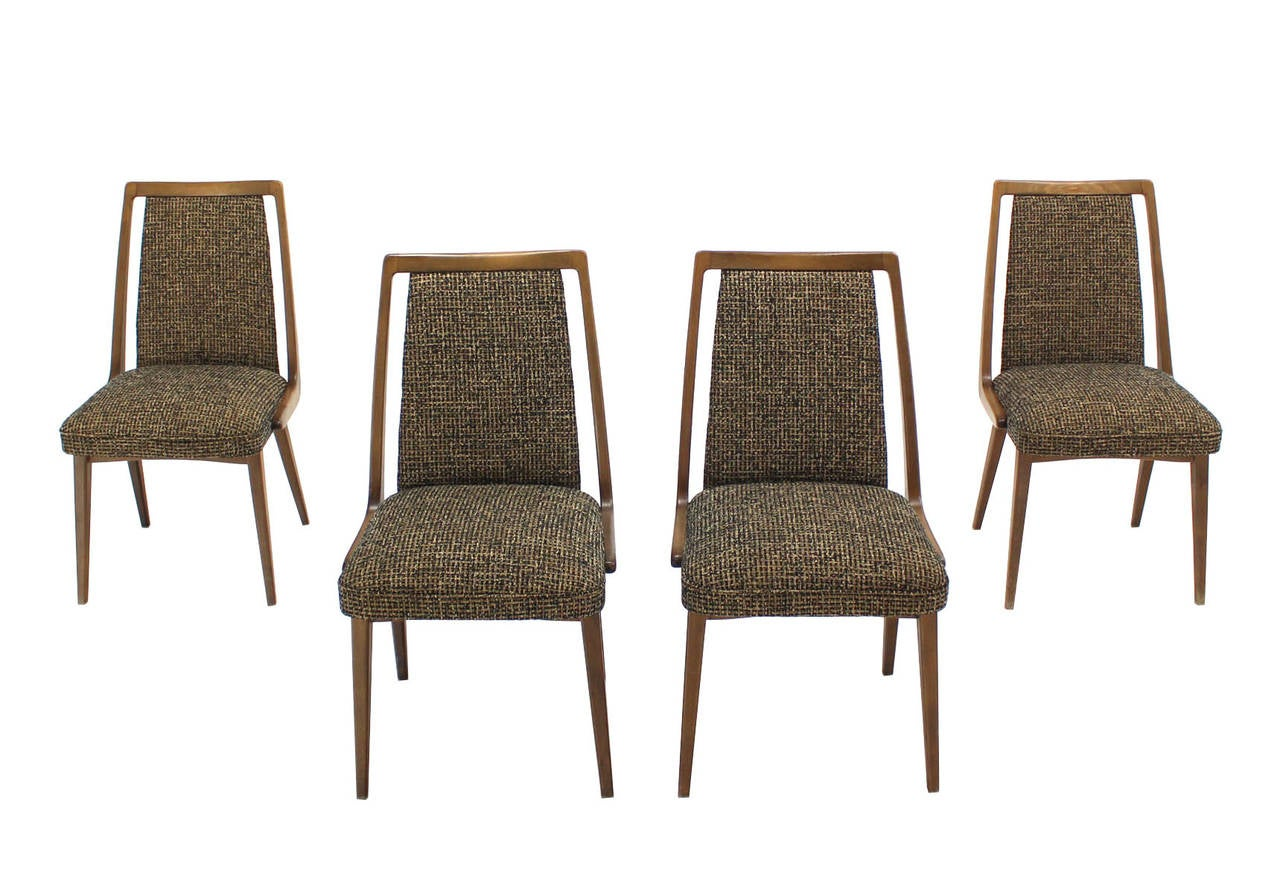 set of four mid century modern side dining chairs new upholstery for sale at 1stdibs. Black Bedroom Furniture Sets. Home Design Ideas