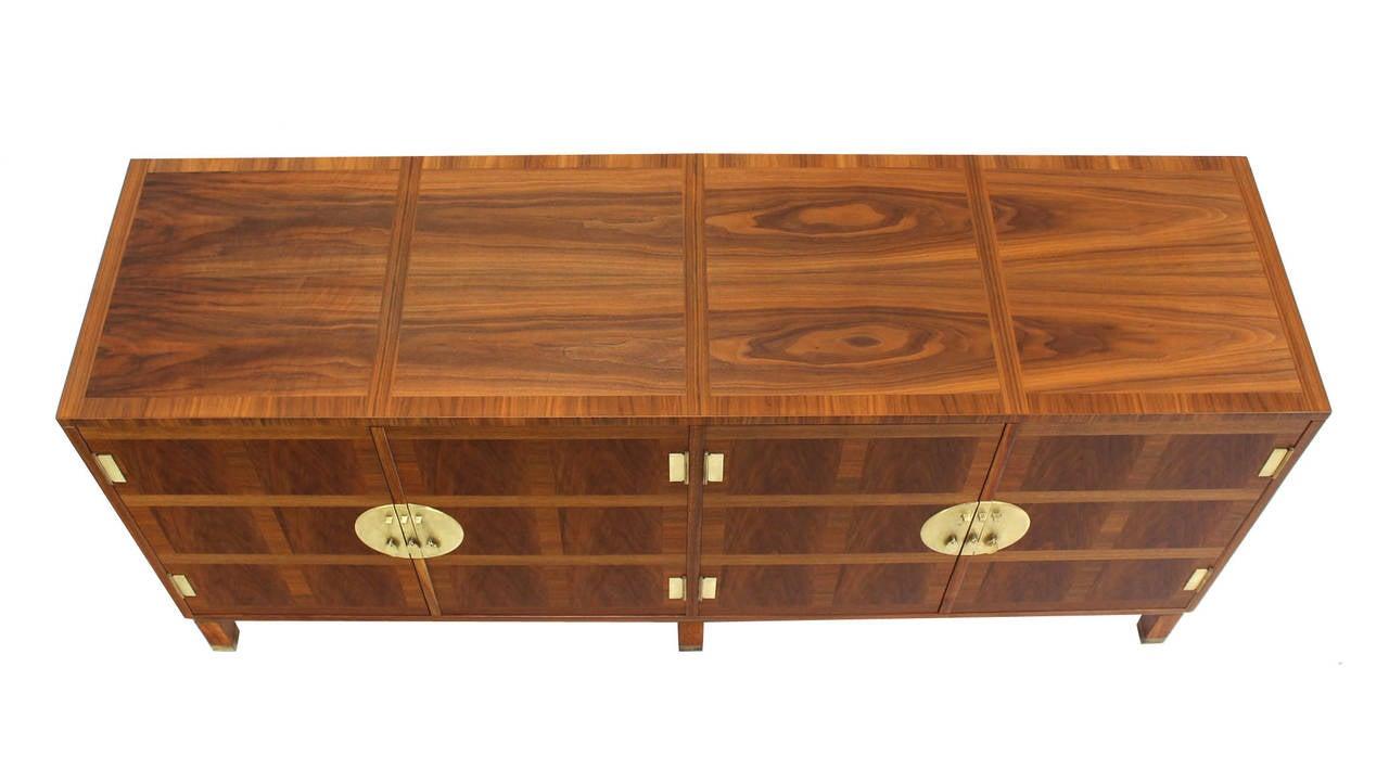 American Baker Mid-Century Modern Long Walnut Dresser Brass Hardware Pulls For Sale