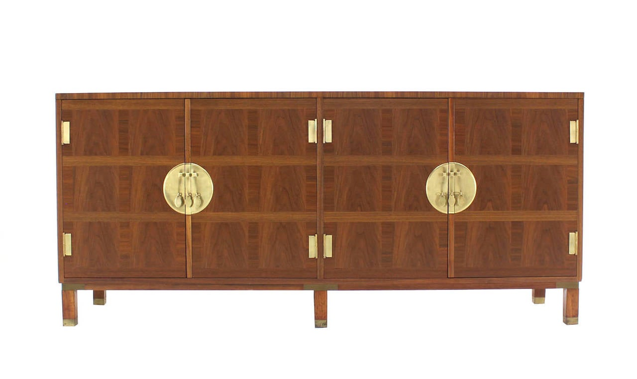 Baker Mid-Century Modern Long Walnut Dresser Brass Hardware Pulls For Sale 2