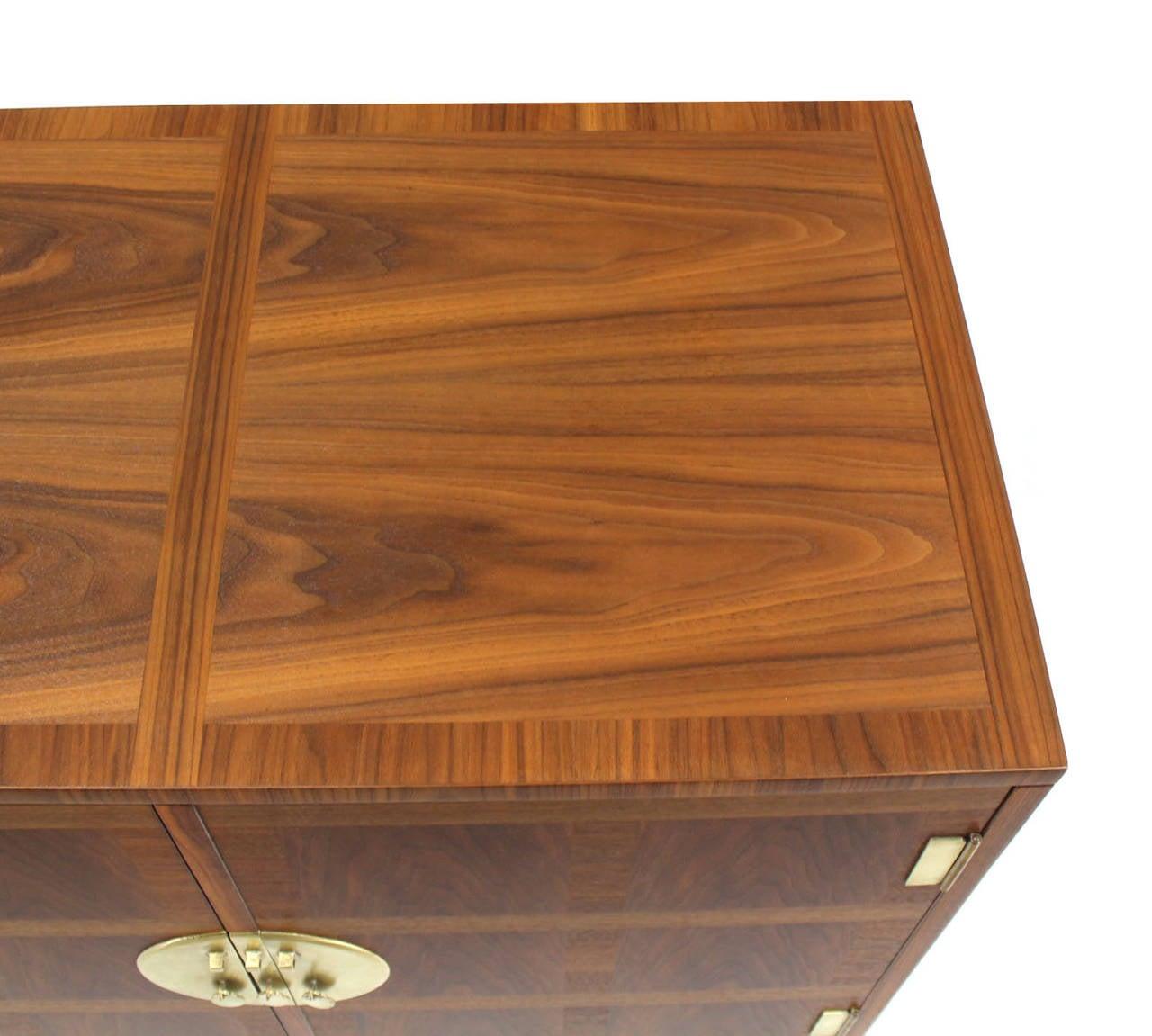 20th Century Baker Mid-Century Modern Long Walnut Dresser Brass Hardware Pulls For Sale