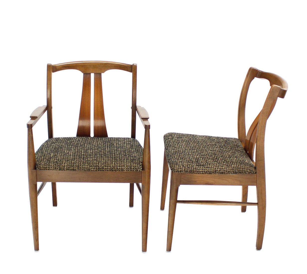 Six mid century modern walnut dining chairs new upholstery for Walnut dining chairs modern