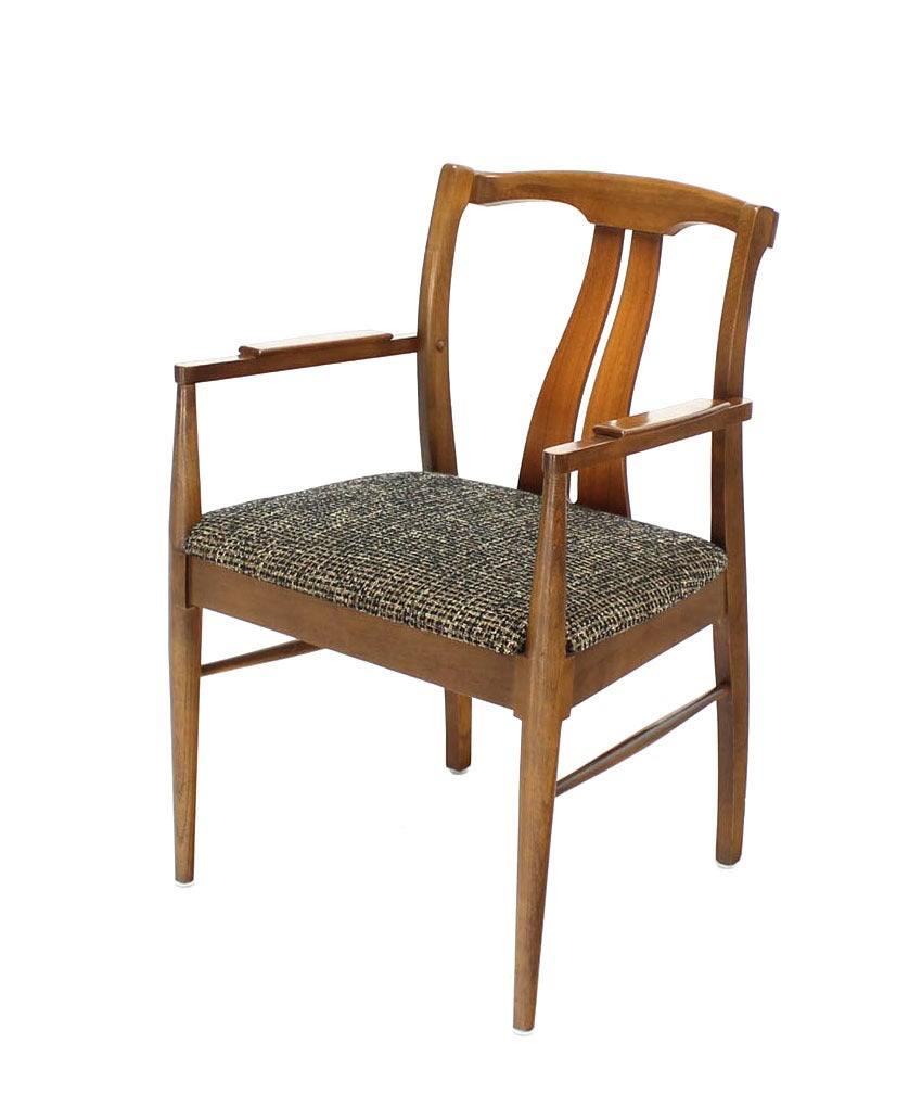 Lacquered Six Mid-Century Modern Walnut Dining Chairs New Upholstery For Sale