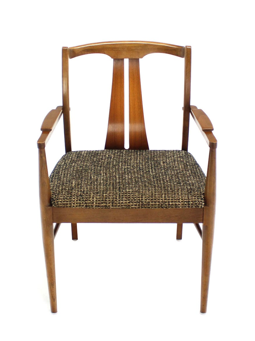 Six Mid-Century Modern Walnut Dining Chairs New Upholstery In Excellent Condition For Sale In Blairstown, NJ