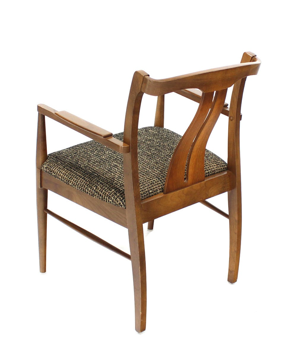 20th Century Six Mid-Century Modern Walnut Dining Chairs New Upholstery For Sale