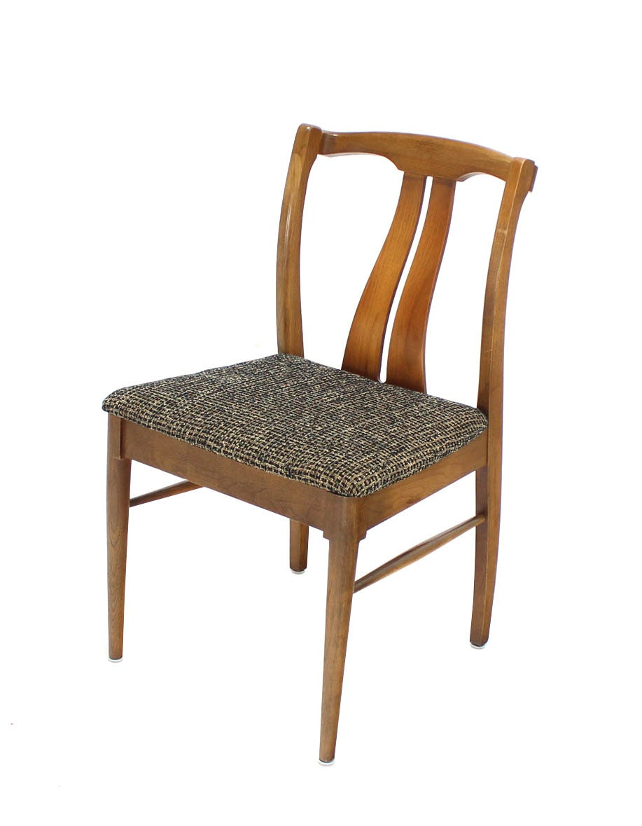 Six Mid-Century Modern Walnut Dining Chairs New Upholstery For Sale 1