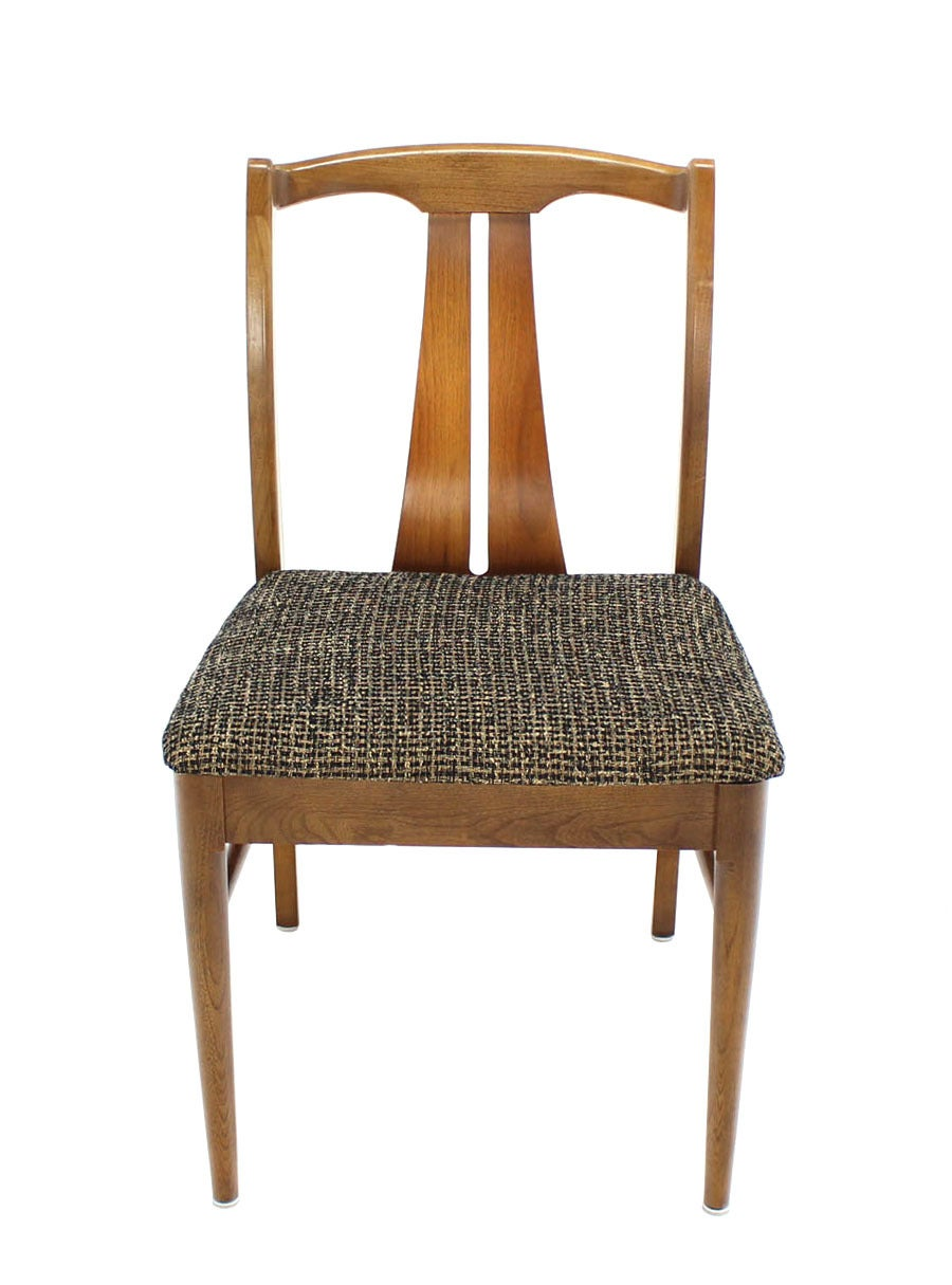 Six Mid-Century Modern Walnut Dining Chairs New Upholstery For Sale 2